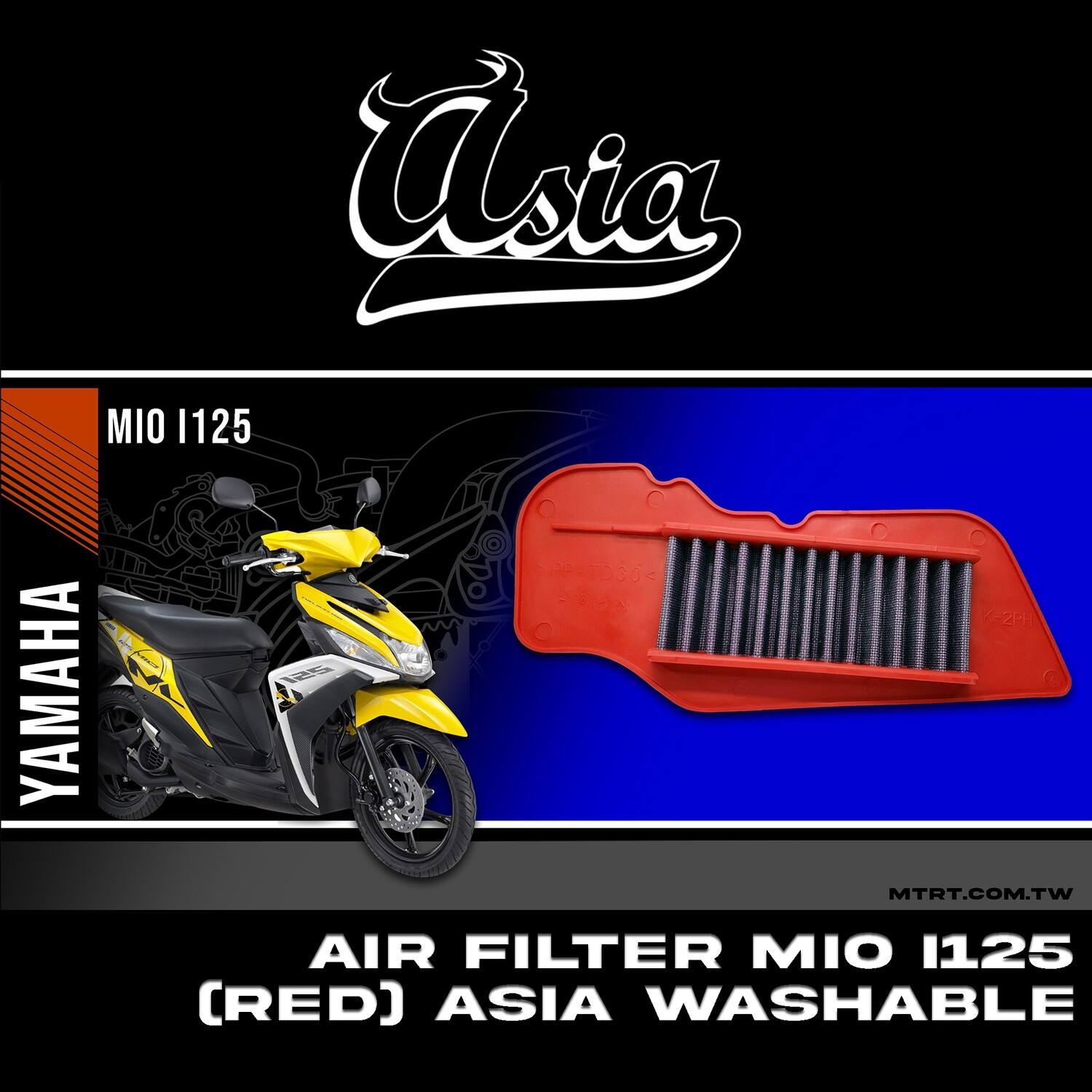 AIR FILTER MIOi125 M3  (RED) ASIA WASHABLE