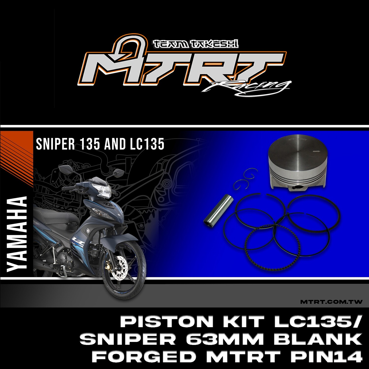 PISTON  KIT  LC135/SNIPER 63MM Blank Forged MTRT pin14