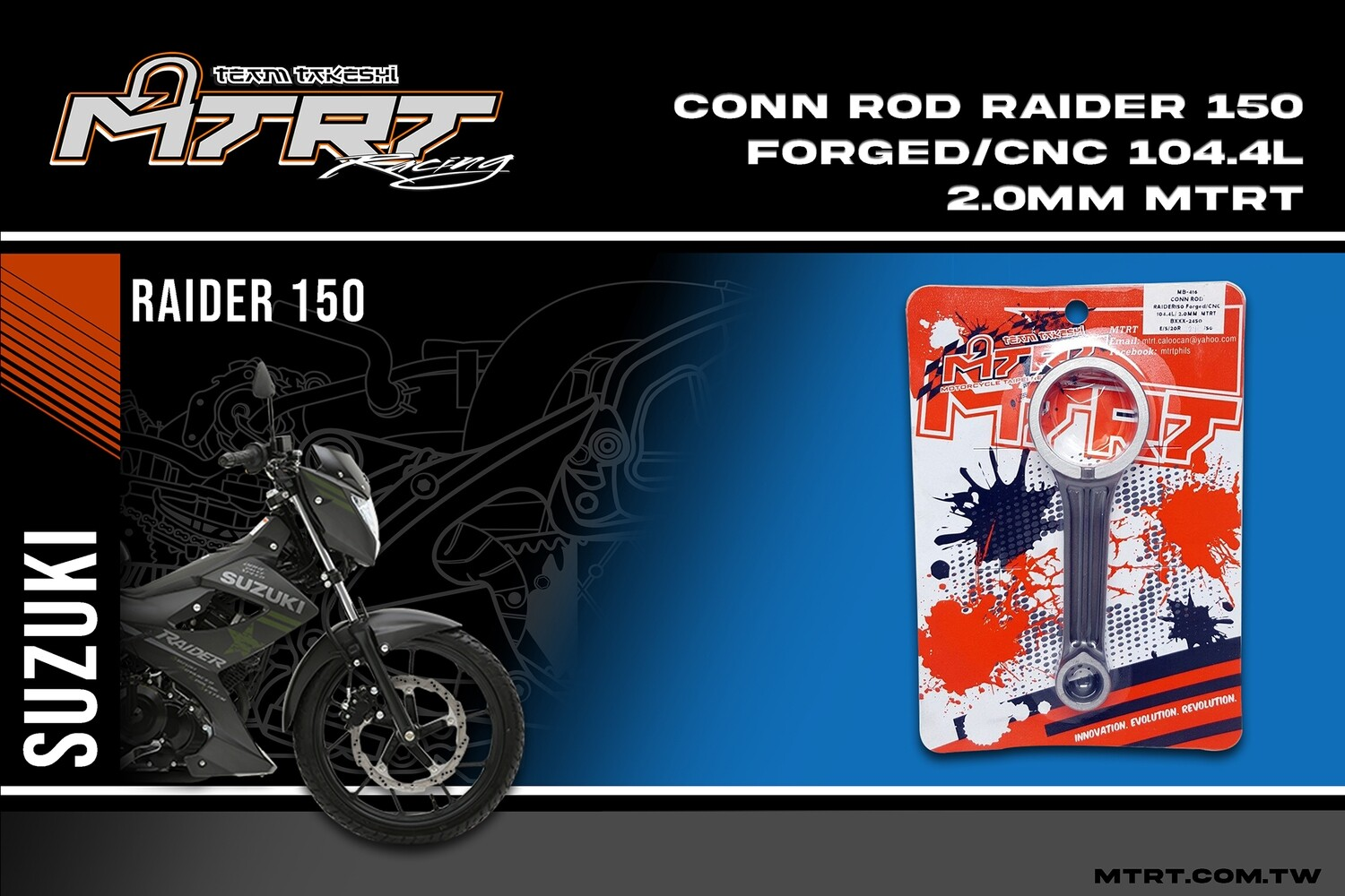 CONN ROD  RAIDER 150 FORGED CNC 104.4L 2.0MM MTRT