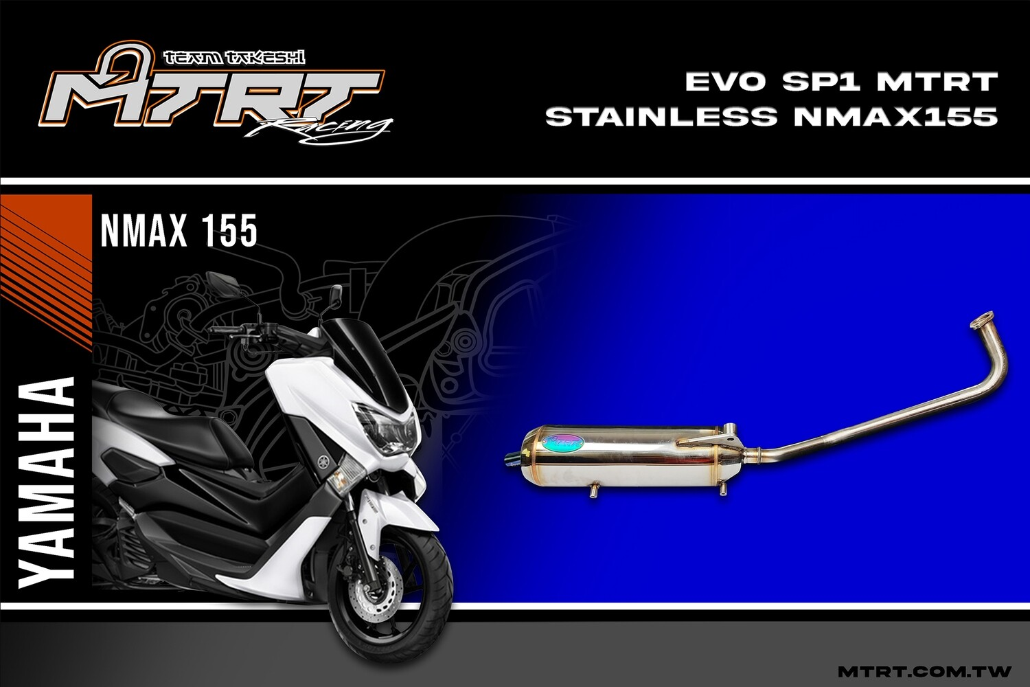 PIPE EVO-SP1 NMAX155  STAINLESS MTRT SILENT POWER (TAIWAN)