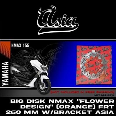 "BIG DISK NMAX /Aerox ""FLOWER DESIGN"" (ORANGE) FRT 260MM w/bracket  ASIA"