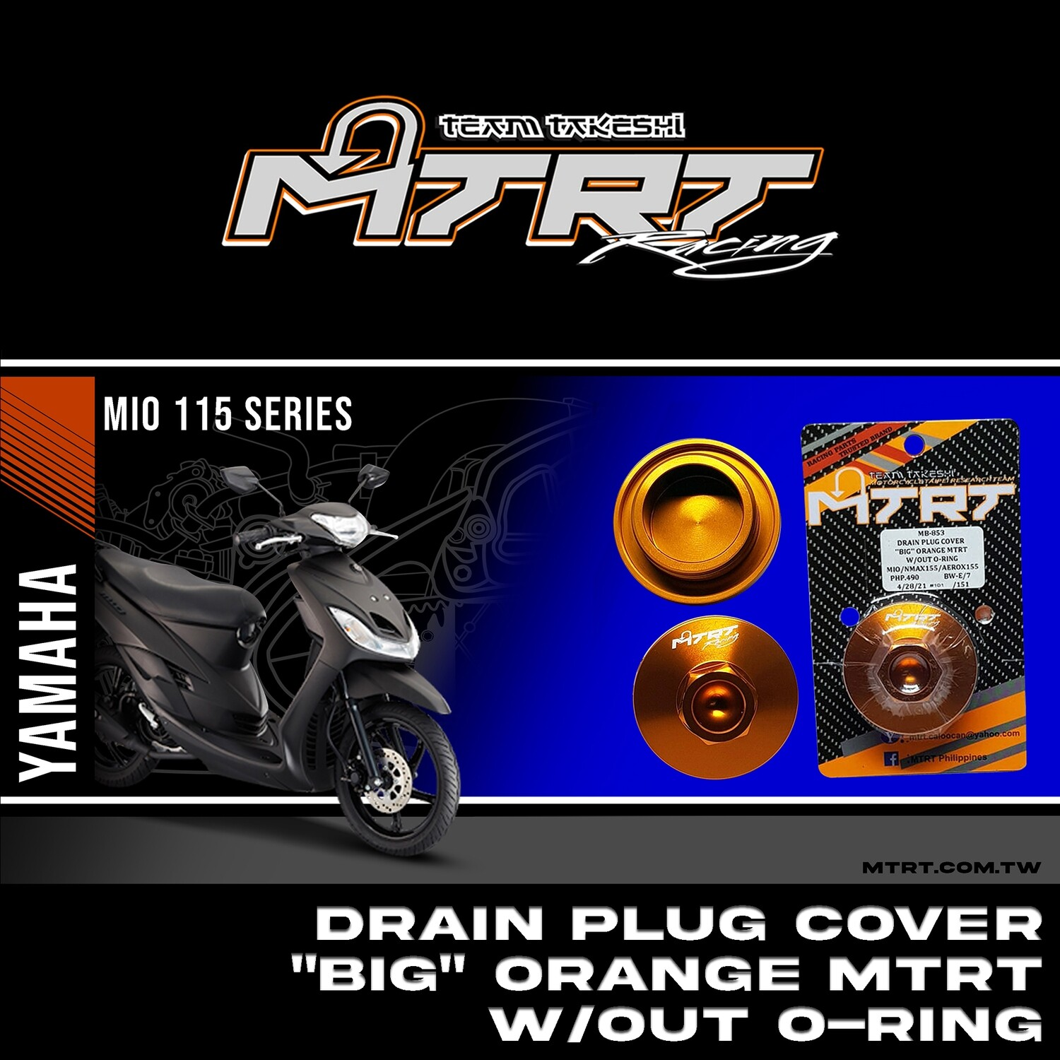"DRAIN PLUG COVER ""BIG""  ORANGE MTRT W/OUT O-RING MIO/NMAX155/AEROX155"