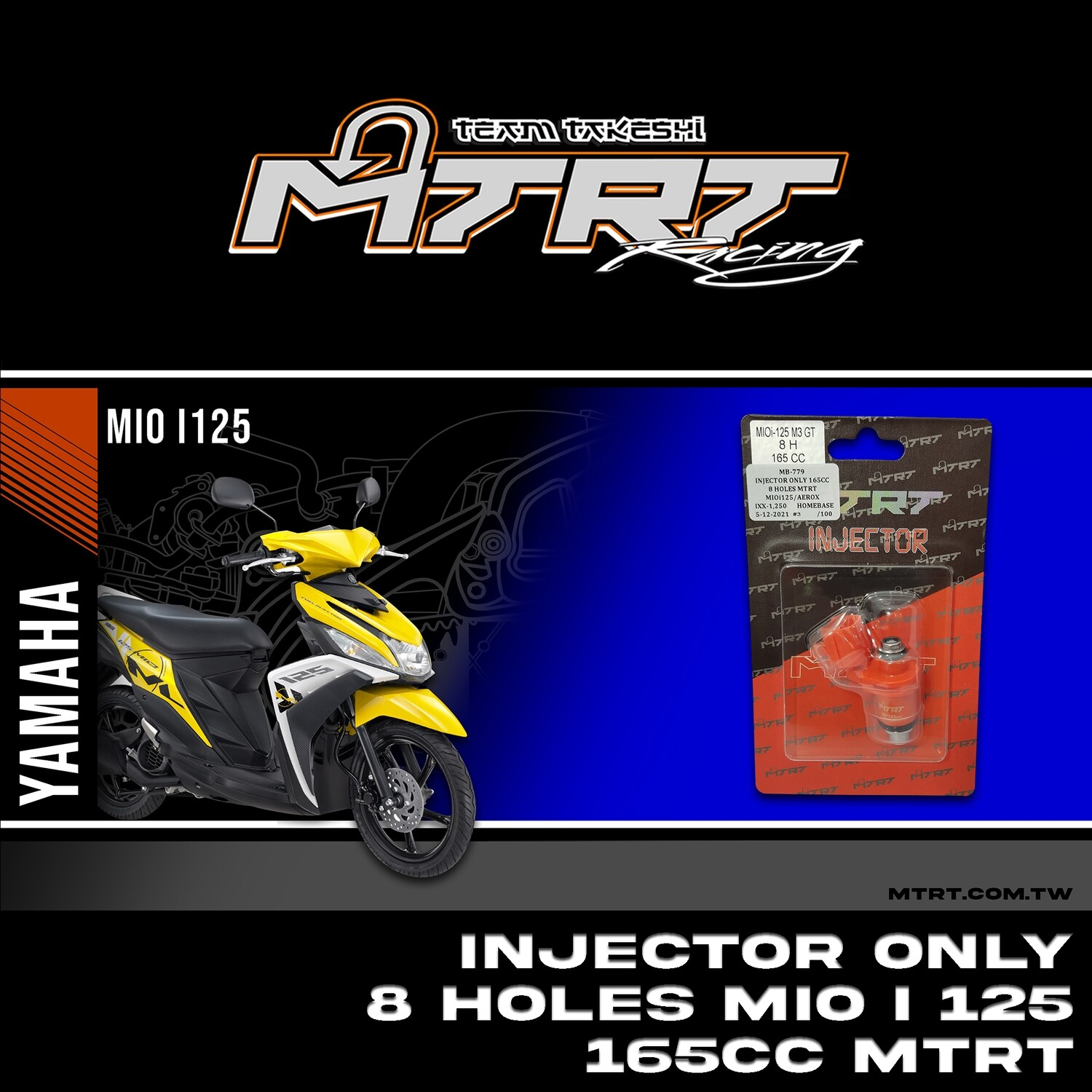 INJECTOR ONLY 8HOLES  MIOi125/Aerox155 165CC MTRT