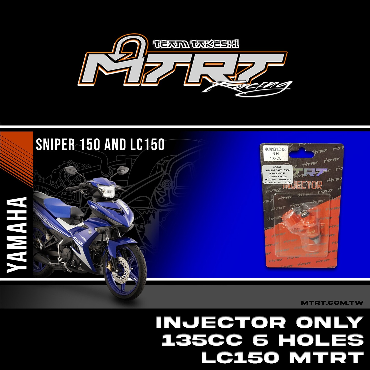 INJECTOR ONLY 135CC 6HOLES  LC150/NMAX155/MXI  MTRT