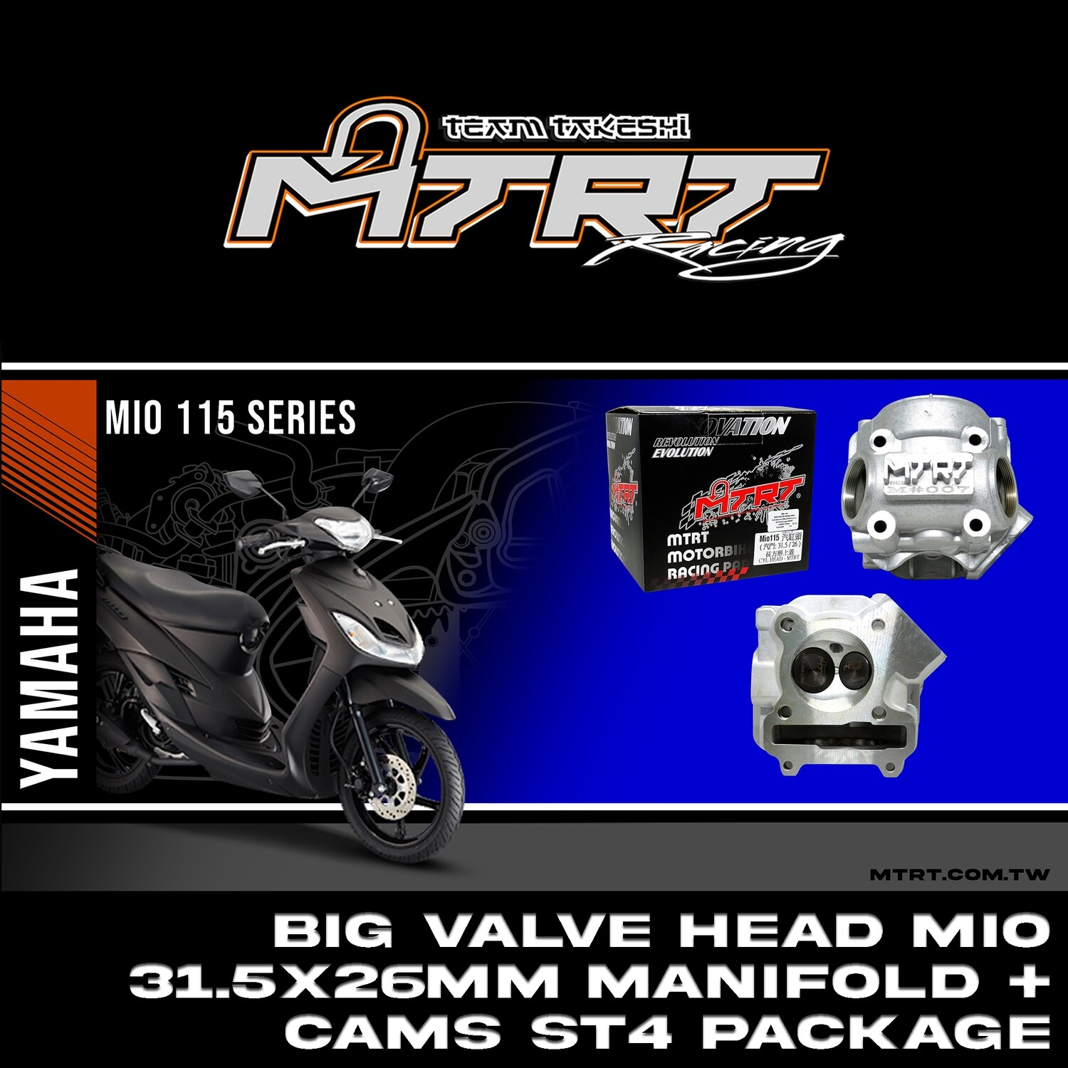 BIG VALVE HEAD MIO 31.5/26mm MTRT(+manifold+cams ST4 package)