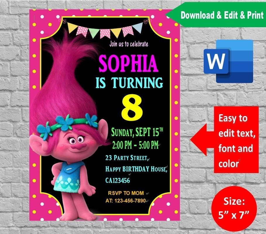 Trolls Poppy Birthday Party Invitation Printable