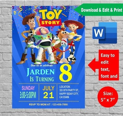 Toy Story Birthday Party Invitation Printable template
