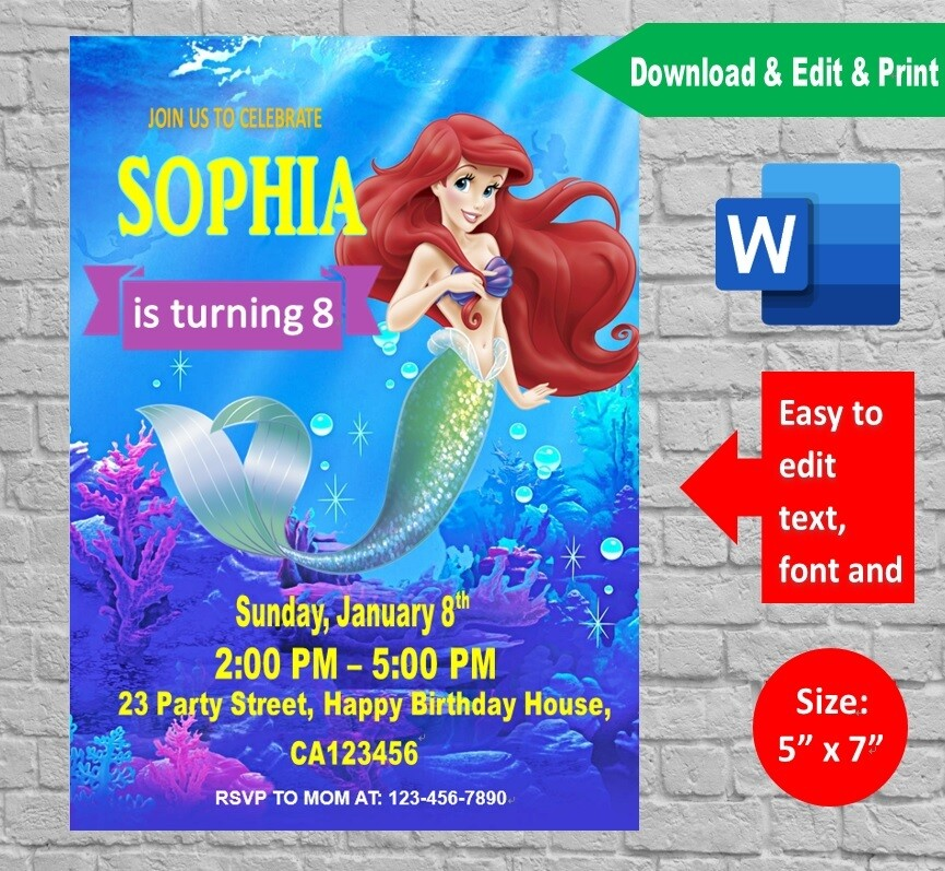 The Little Mermaid Birthday Party Invitation Printable