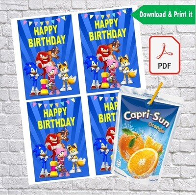 Sonic Party Birthday Capri Sun Pouch Labels Printable