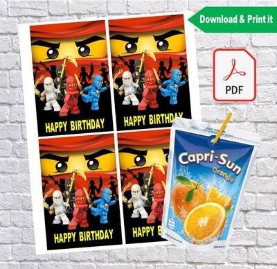Ninjago Lego Birthday Party Capri Sun Labels Printable