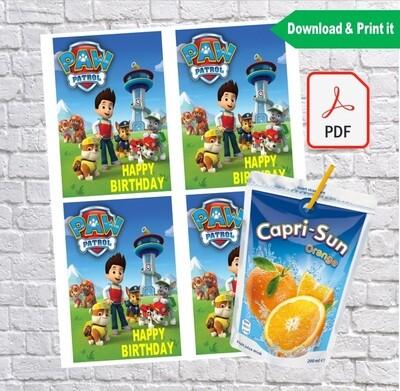 Paw Patrol Birthday Party Capri Sun Labels Printable
