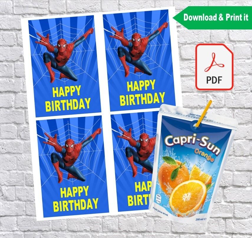 Spiderman Birthday Party Capri Sun Labels Printable