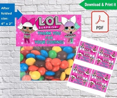 LOL Surprise Dolls Party Treat Bag Toppers Printable