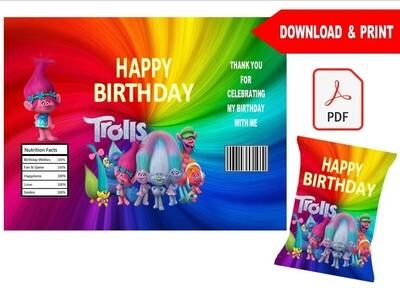 Trolls Poppy Party Favors Chip Bag Wrapper Printable