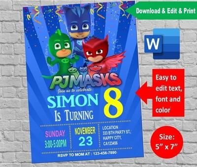 PJ Masks Birthday Party Invitation template Printable