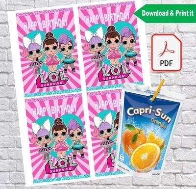 LOL Surprise Capri Sun Pouch Labels Printable