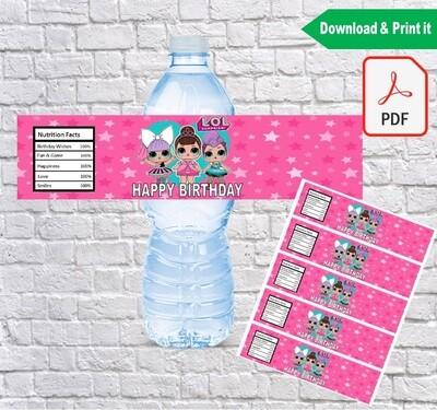 LOL Surprise Dolls Water Bottle Labels Printable