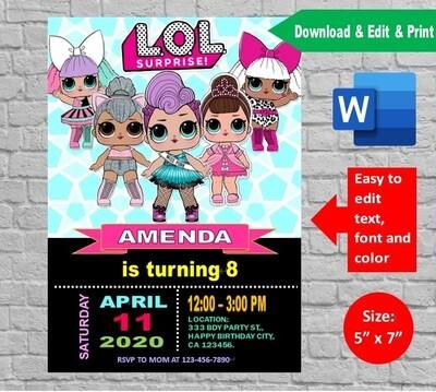 LOL Surprise Dolls Birthday Party Invitation template