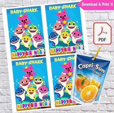 Baby Shark Capri Sun Pouch Labels Printable