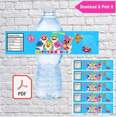 Baby Shark Water Bottle Labels Printable