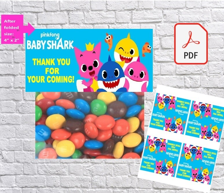 Baby Shark Party Favors Treat Bag Toppers Printable