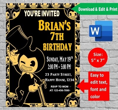Bendy and the Ink Machine Party Invitation Printable