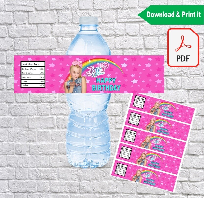 Jojo Siwa Water Bottle Labels Printable