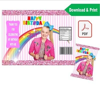 Jojo Siwa Party Favor Chip Bag Wrapper Printable