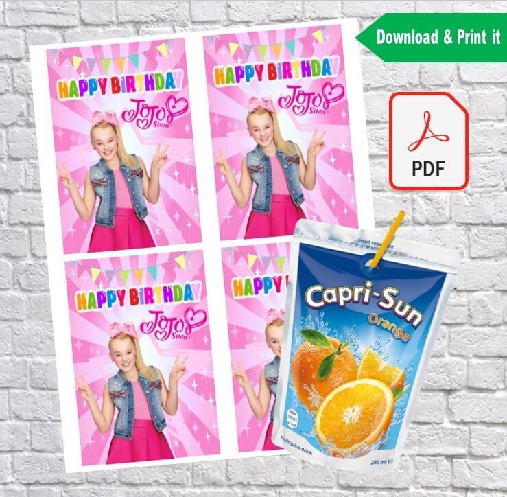 Jojo Siwa Birthday Party Capri Sun Labels Printable