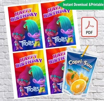 Trolls Poppy Capri Sun Juice Label Printable
