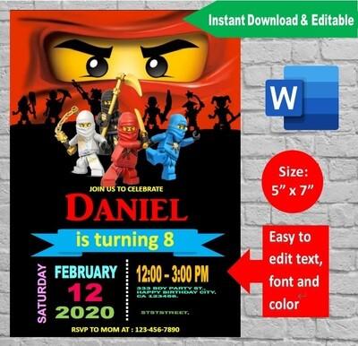 Ninjago Lego Birthday Party Invitation template