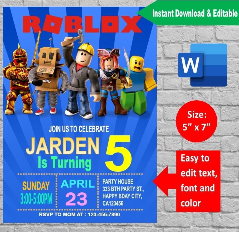 Roblox Birthday Party Invitation template Printable