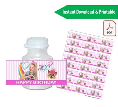 Jojo Siwa Mini Bubble Bottle Labels Stickers