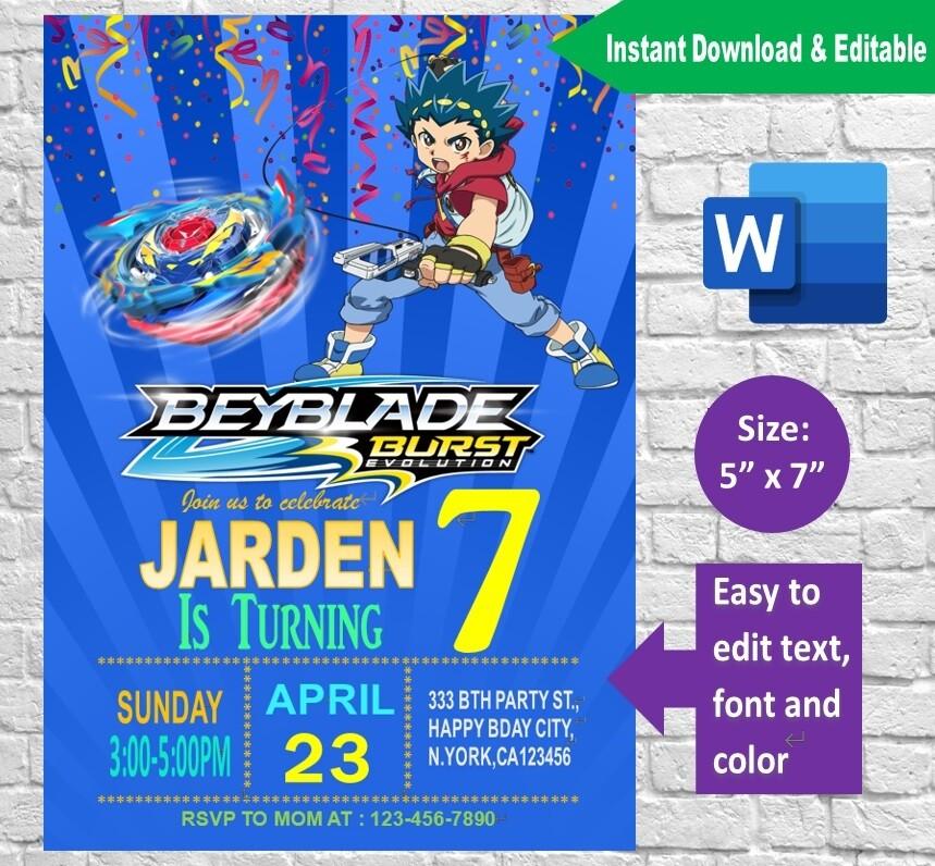 Beyblade Burst Invitation Template Printable Editable