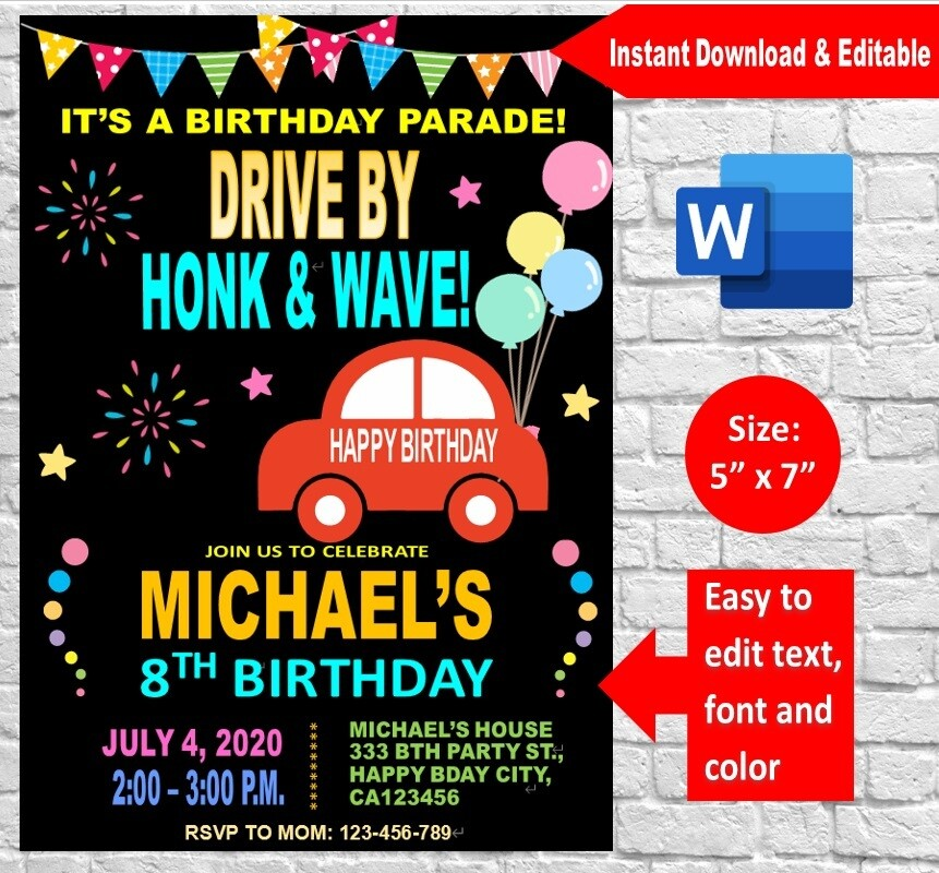 Drive by Birthday Parade Party Invitation template