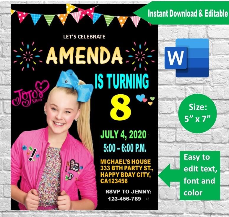 Jojo Siwa Birthday Invitation Printable Template