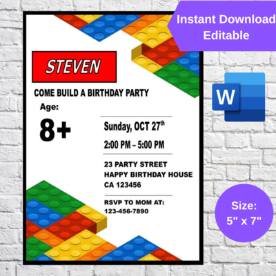 Building Blocks Lego Party Invitation template