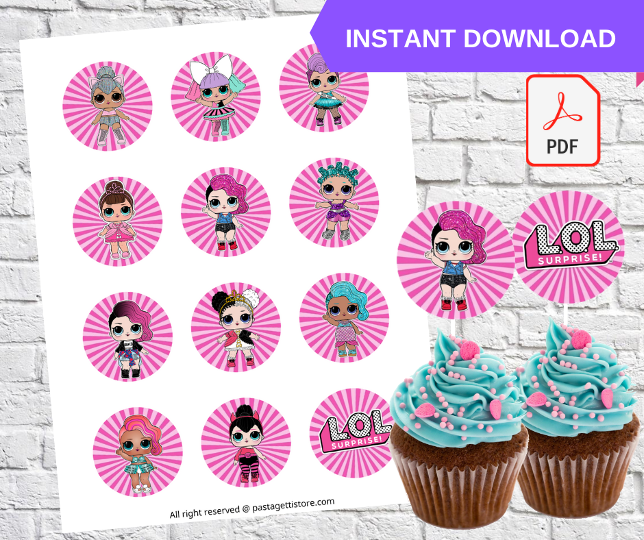LOL Surprise Dolls Party Cupcake Toppers Printable