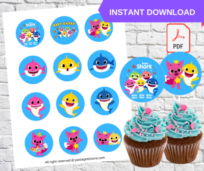 Baby Shark Party Cupcake Toppers Printable