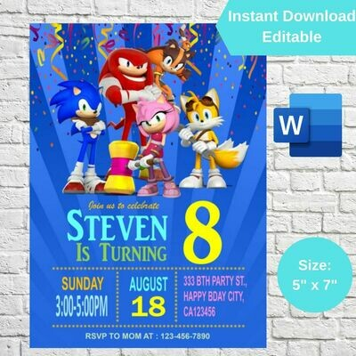 Sonic the Hedgehog Party Invitation Template