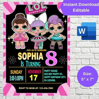 LOL Surprise Dolls Birthday Party Invitation Printable