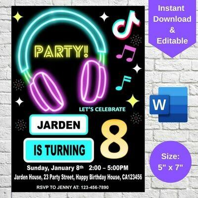 TikTok Inspired Musical Party Invitation Template