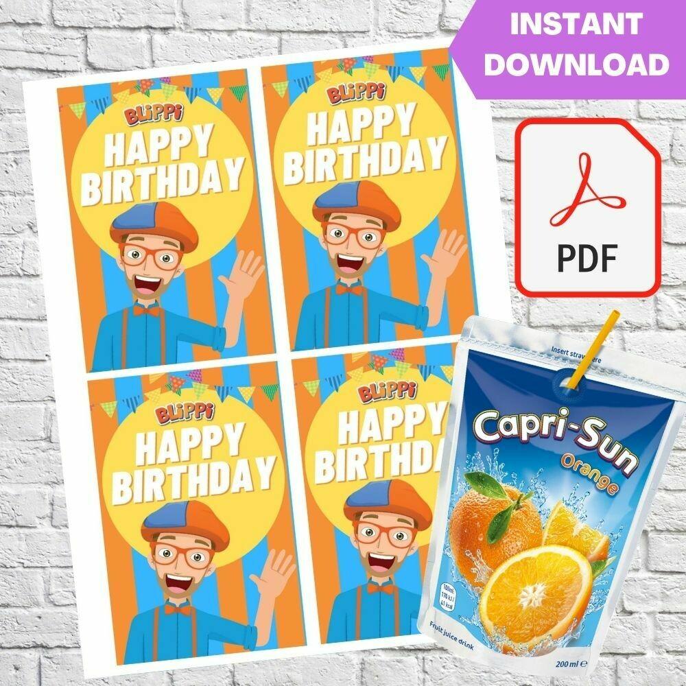 Blippi Party Capri Sun Pouch Labels Printable