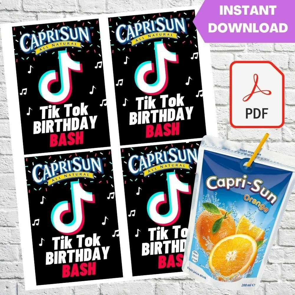 TikTok Capri Sun Pouch Labels Printable