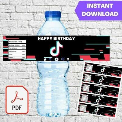 Tiktok Party Water Bottle Labels Printable