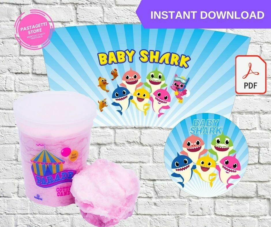 Baby Shark Cotton Candy Tub Wrapper Printable