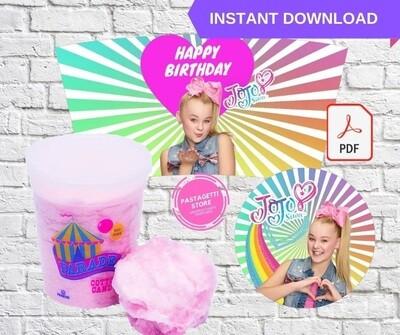 Jojo Siwa Cotton Candy Tub Wrappers Labels Printable
