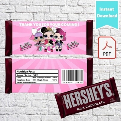 LOL Surprise Hershey Chocolate Candy Bar Wrappers