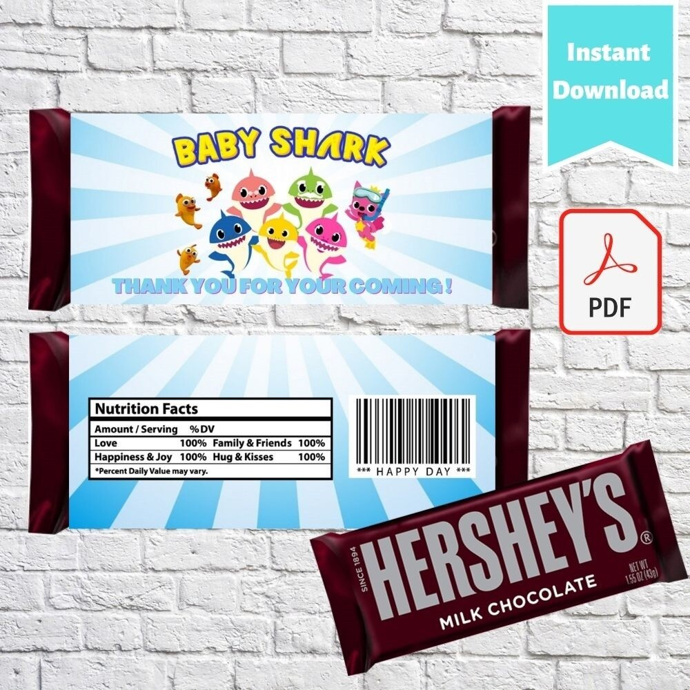 Baby Shark Hershey Chocolate Candy Bar Wrappers