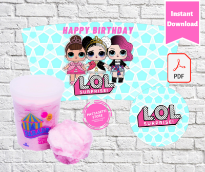 LOL Surprise Party Cotton Candy Tub Wrappers Labels